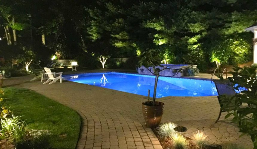 in ground pool at night