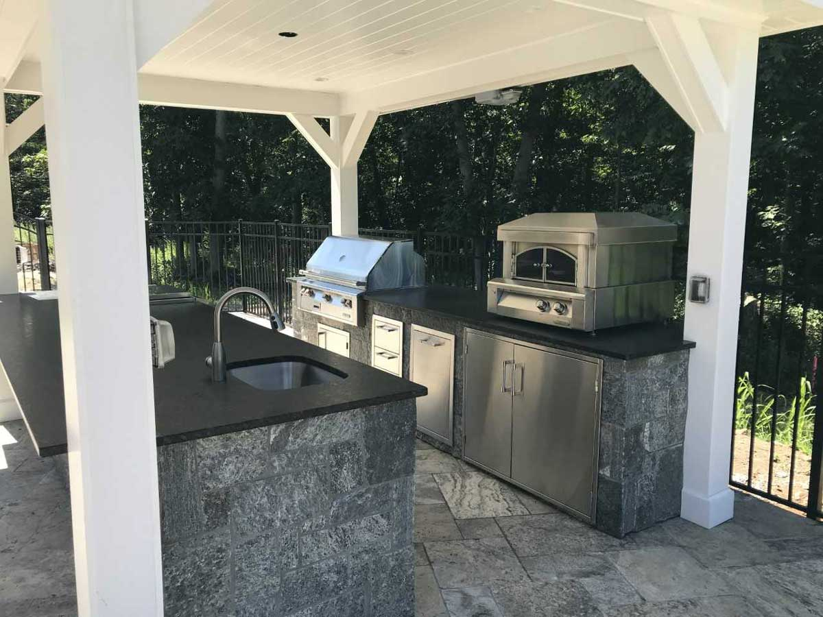 outdoor kitchen under gazebo
