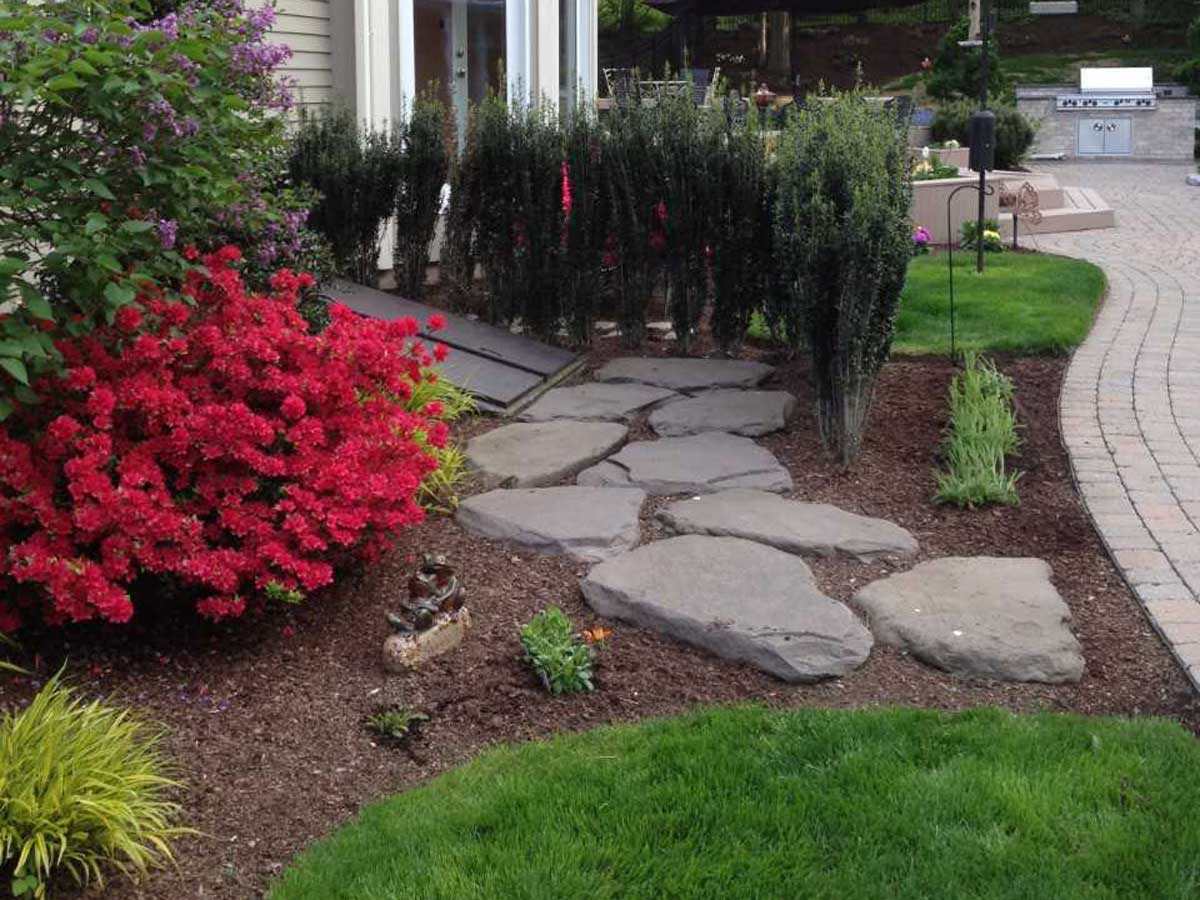 outdoor landscaping and rock path