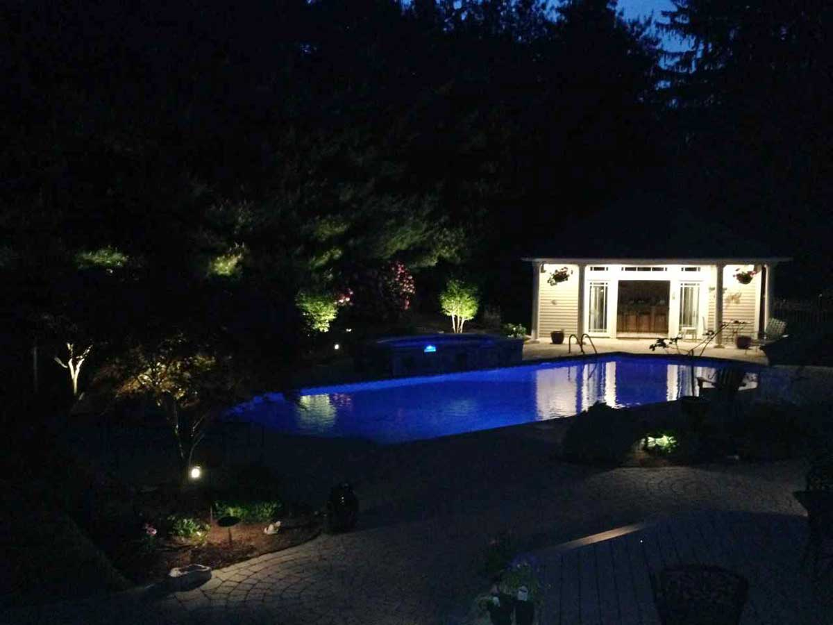 new landscaping and outdoor lighting
