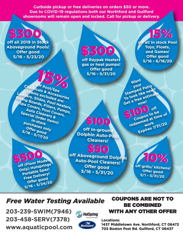 Graphic showing coupons for Aquatic pool and spa